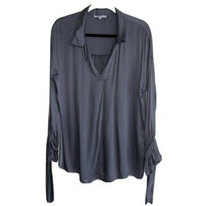 Tempo Paris Dark Gray Long Sleeve V Neck Blouse M
